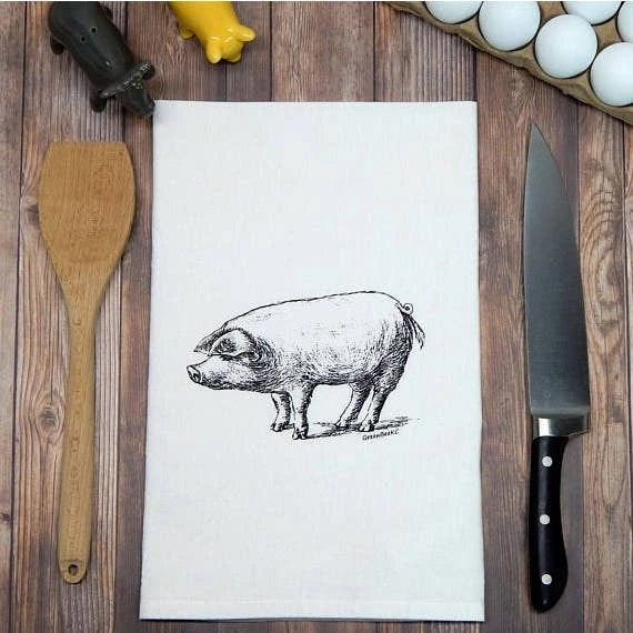 Hand-Printed Flour Sack Tea Towel, Pig
