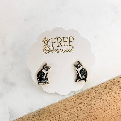 Prep Obsessed Enamel Stud Earrings, Black & White Cats