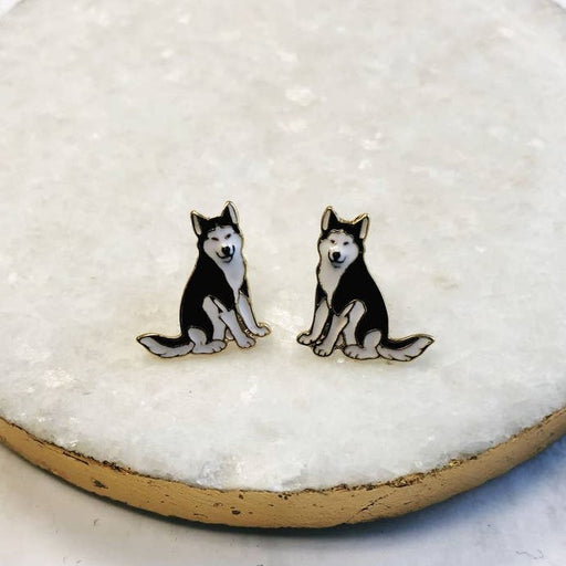 Prep Obsessed Enamel Stud Earrings, Huskies