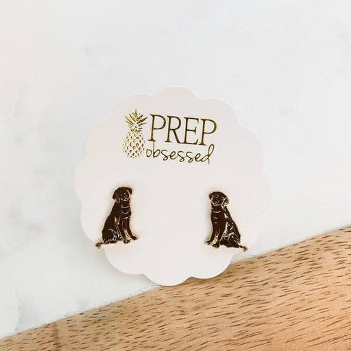 Prep Obsessed Enamel Stud Earrings, Chocolate Labradors