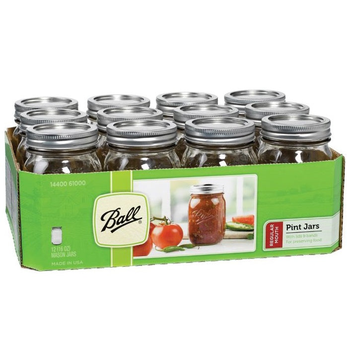 Ball Canning Jars, Regular Mouth Pint - Case of 12
