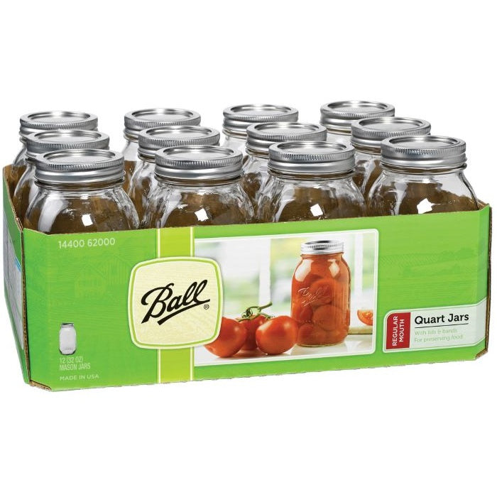 Ball Canning Jars, Regular Mouth Quart - Case of 12
