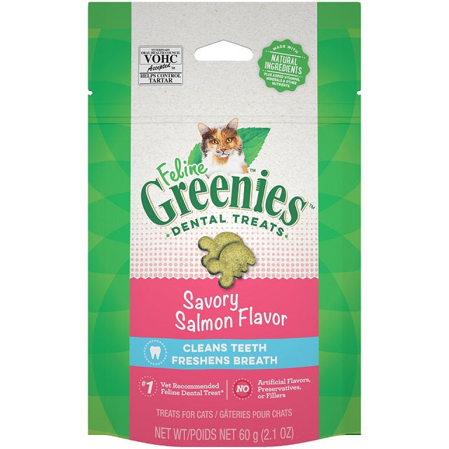 Feline Greenies Cat Dental Treats Savory Salmon Flavor