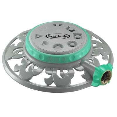 Sprinkler, 8-Pattern Metal- Green Thumb