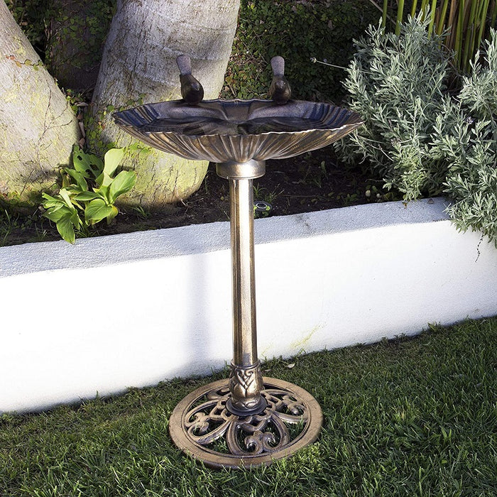Vintage Bronze Poly Birdbath, Shell-Shaped with Bird Accent