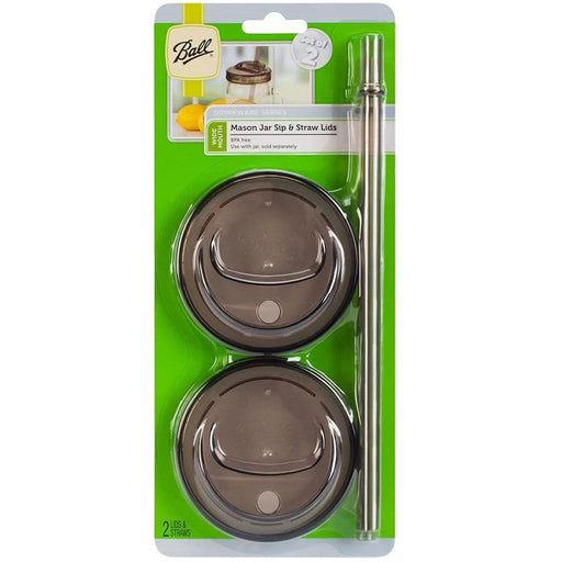 Mason Jar Sip 'n Straw Lids, Wide Mouth - 2 pack