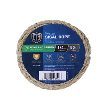 Sisal Rope, Twisted, 1/4-In. x 50-Ft.