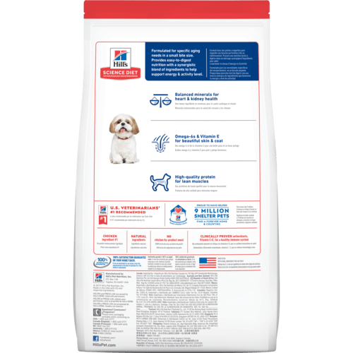 Hill's Science Diet Adult 7+ Small Bites Chicken Meal, Barley & Rice Recipe Dry Dog Food 5-Lbs.