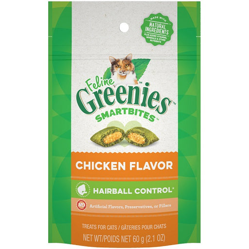 Feline Greenies Smartbites Hairball Control Chicken Flavor Cat Treats