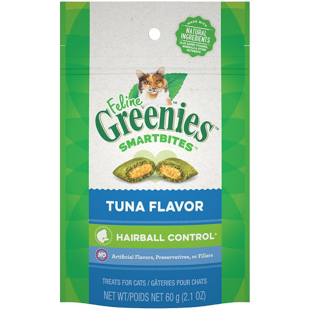 Feline Greenies Smartbites Hairball Control Tuna Flavor Cat Treats