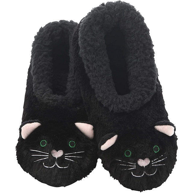 Snoozies Womens Furry Foot Pals, Black Cat