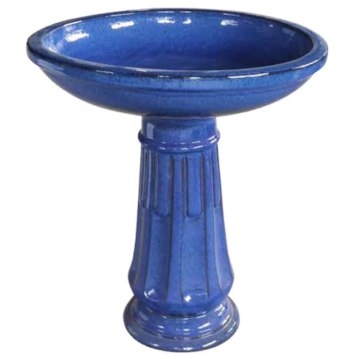 "Southern Patio 23"" Ceramic Birdbath, Falling Blue"