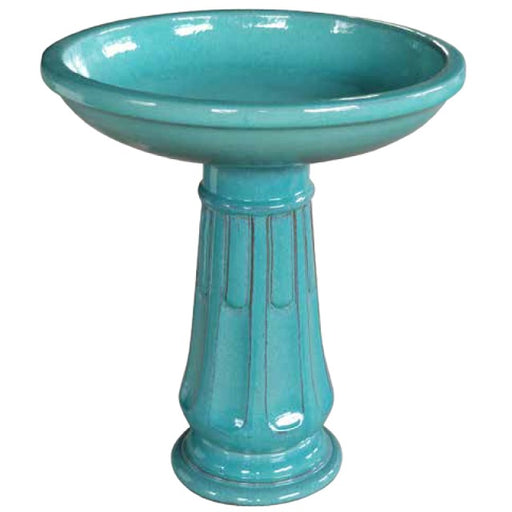 "Southern Patio 23"" Ceramic Birdbath, Falling Green"