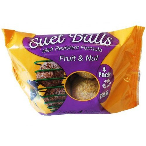 Wildlife Sciences Melt Resistant Suet Ball 4-Pack, Fruit & Nuts