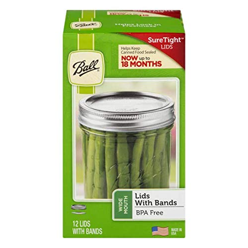 Lids & Bands for Wide Mouth Mason Jars, 12 pack