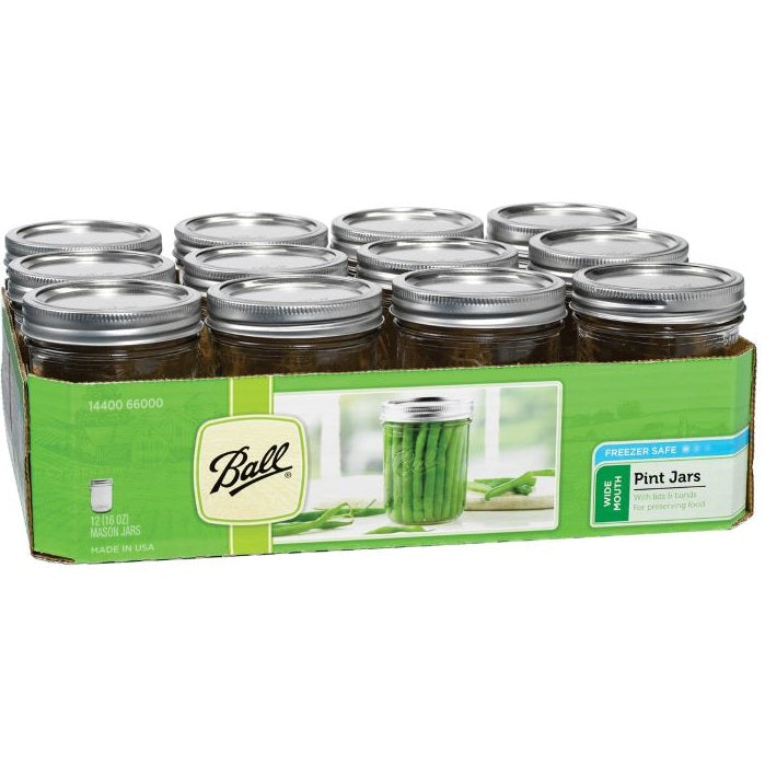 Ball Canning Jars, Wide Mouth Pint - Case of 12