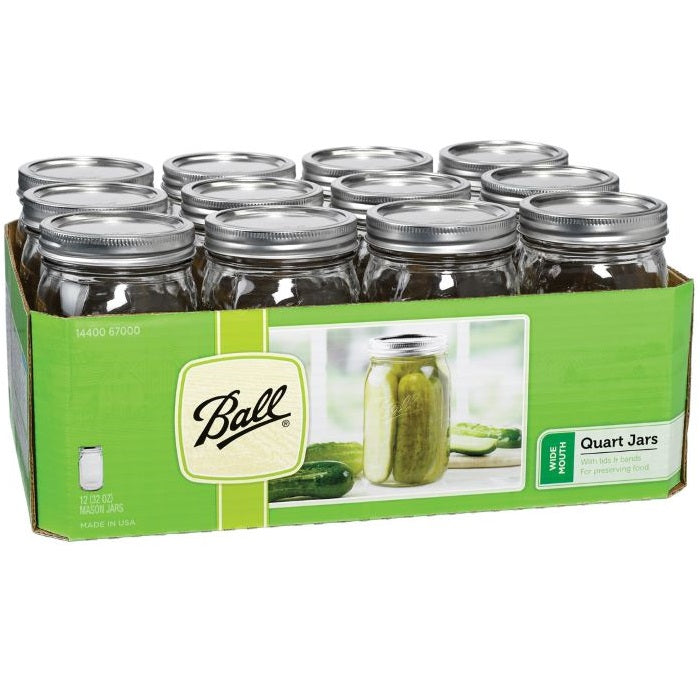 Ball Canning Jars, Wide Mouth Quart - Case of 12