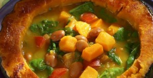 Amazon Bean Soup with Winter Squash Greens