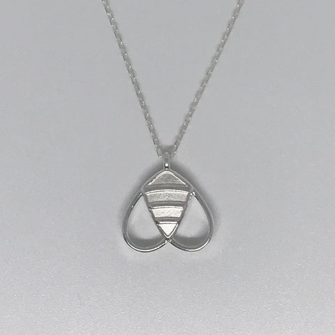 Solid Bee Necklace In Sterling Silver
