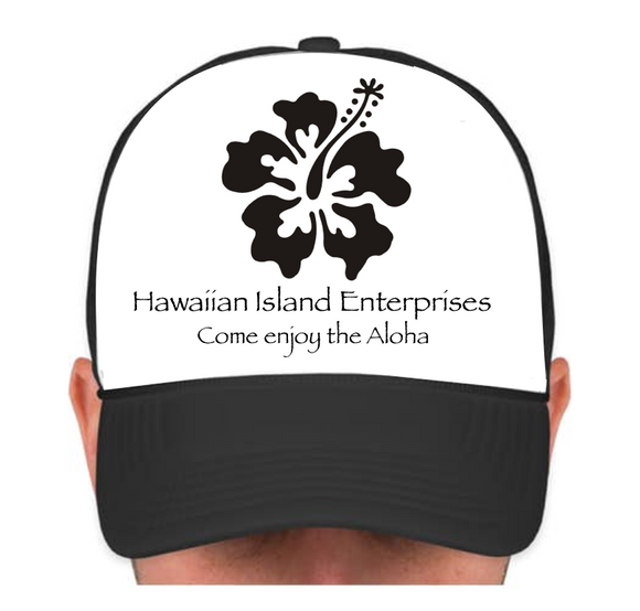 HIE Cap Single Black Hibiscus