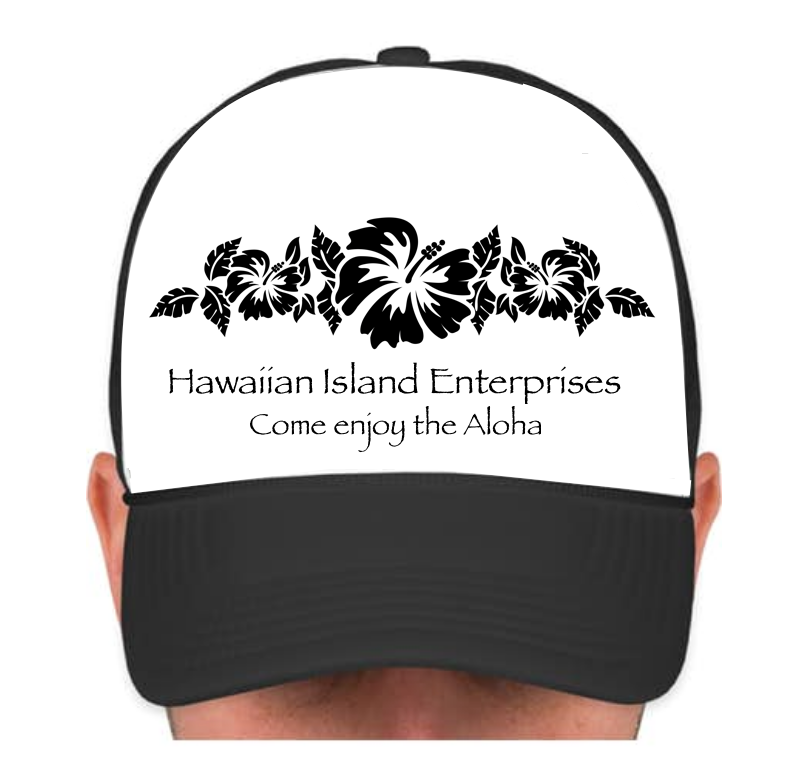 HIE Cap Black Hibiscus Flower Row