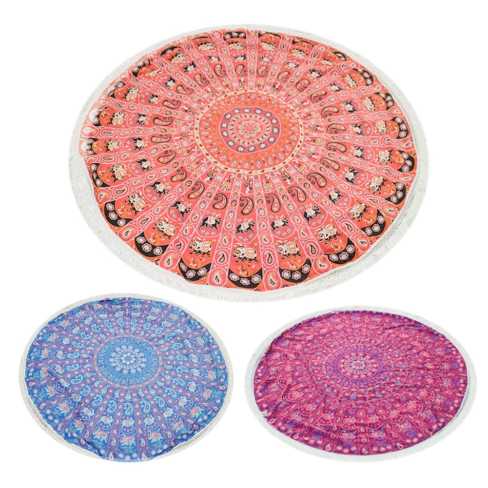 Round Beach & Yoga Towel with Tassels