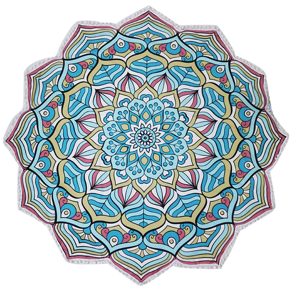 Indian Mandala Lotus Flower Beach & Yoga Towel