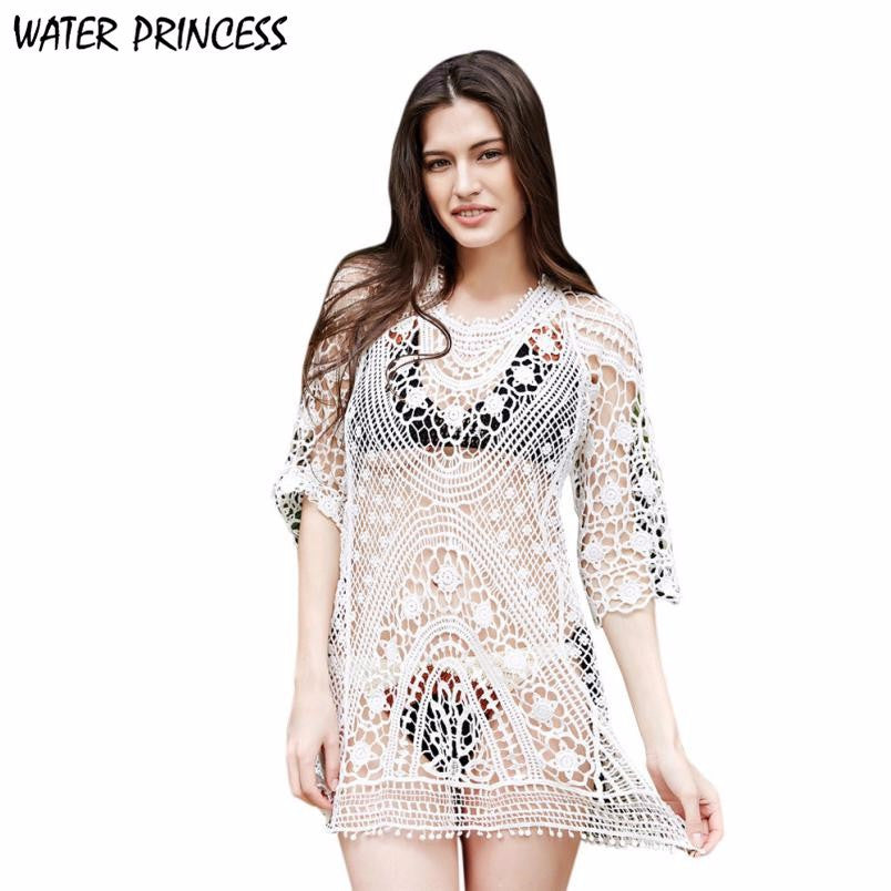 Hollow Lace Bikini Cover Up Dress