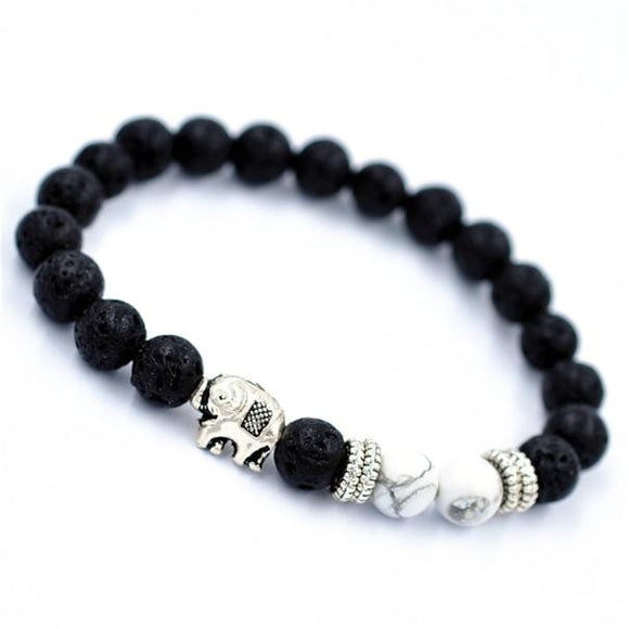 Elastic Beaded Buddha Bracelet with Elephant