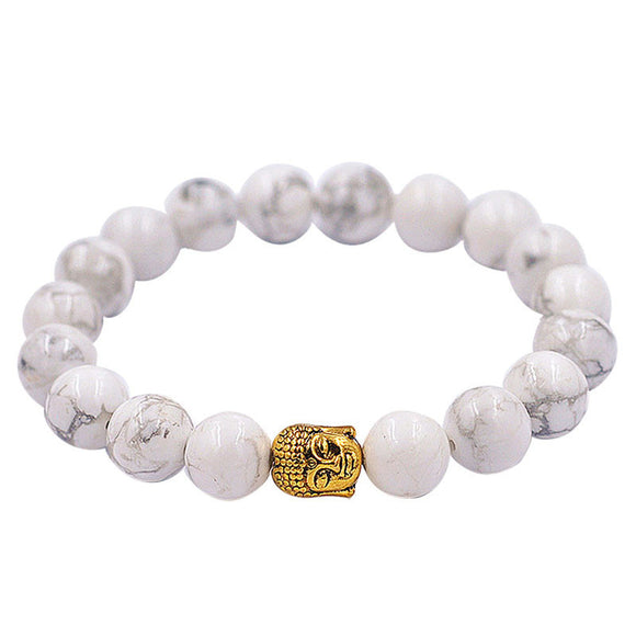 Elastic White Beaded Tibet Bracelet