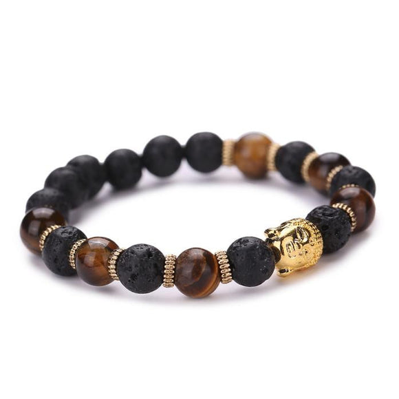 Elastic Beaded Buddha Bracelet with Wood Colors