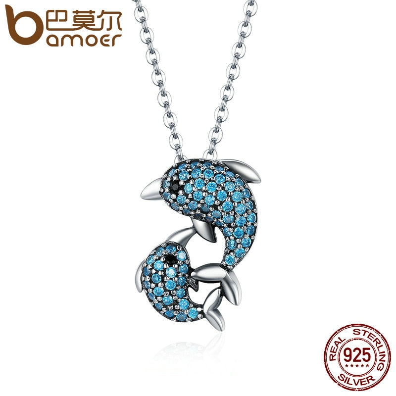 Sterling Silver Story Of Dolphin Pendant Necklace