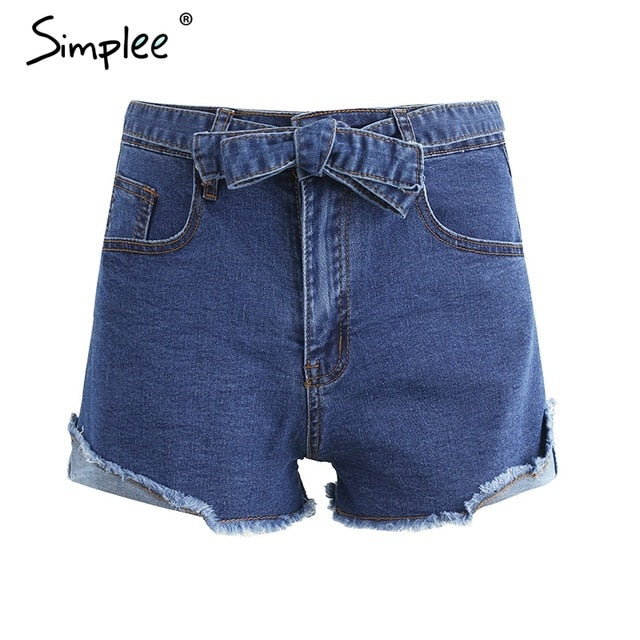 Simplee Denim high waist shorts with bow