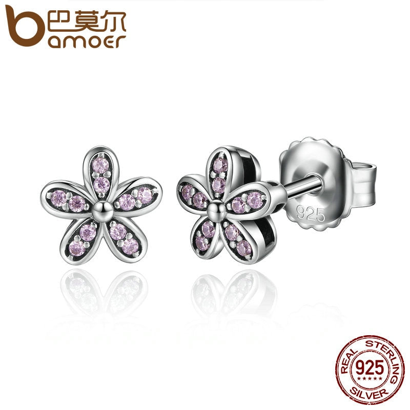 Sterling Silver Light Pink Daisy Flower Stud Earrings
