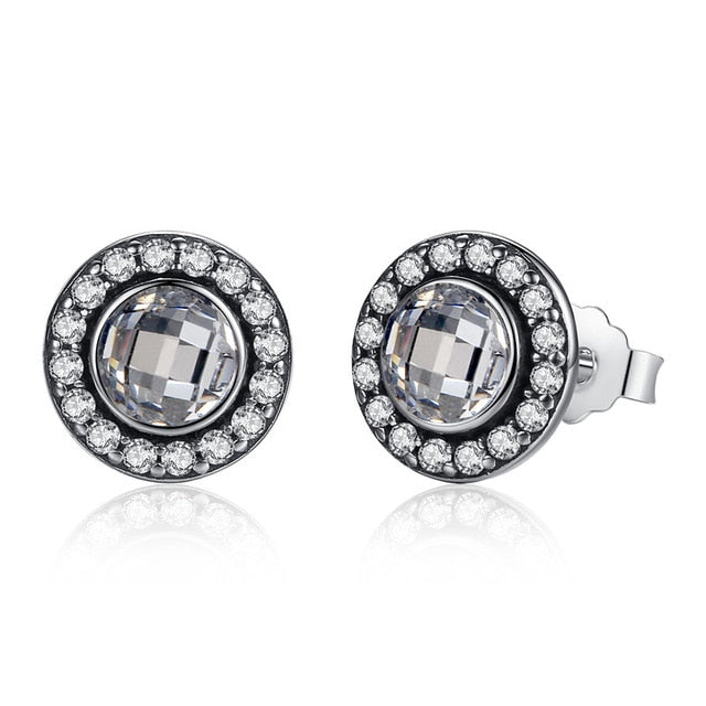 Sterling Silver Pink & Clear Brilliant Legacy Stud Earrings