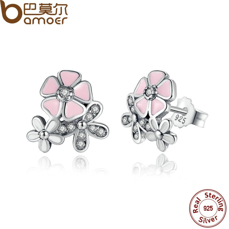 Sterling Silver Daisy Cherry Pink Blossom Earrings