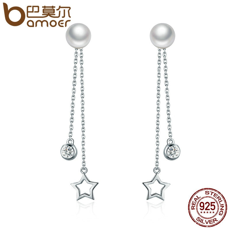 Sterling Silver Twinkle Star Imitation Pearl Drop Earrings