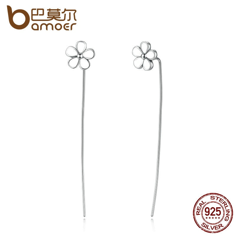 Sterling Silver White Flower Long Drop Earrings