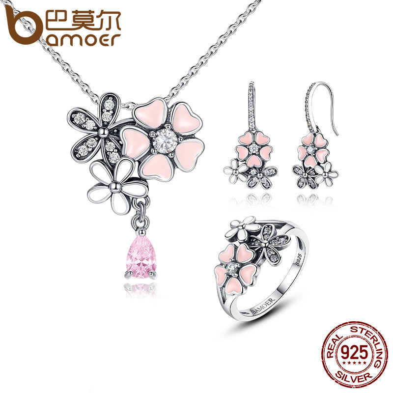 Sterling Silver Cherry Blossom & Daisy Jewelry Set