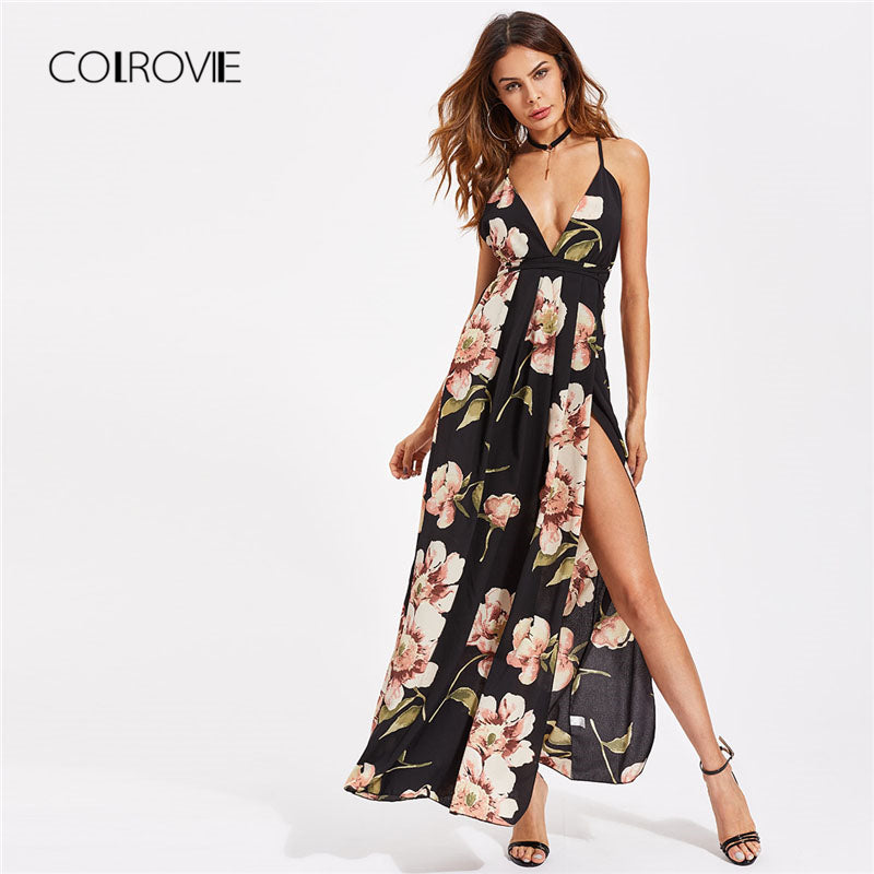 Plunging High Slit Floral Dress