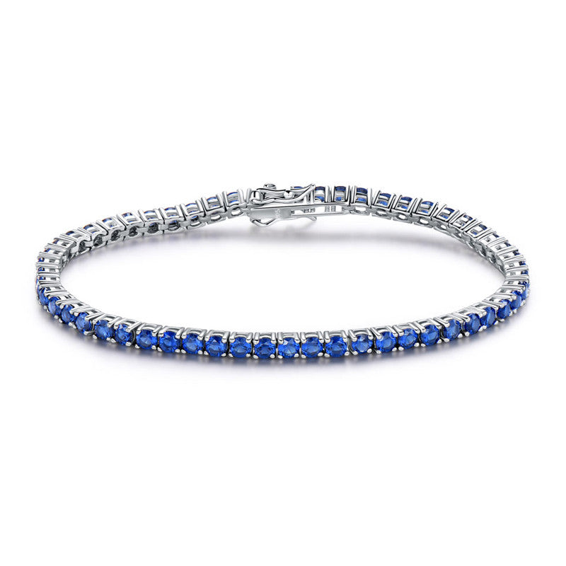 Sterling Silver with Blue Band Bracelet