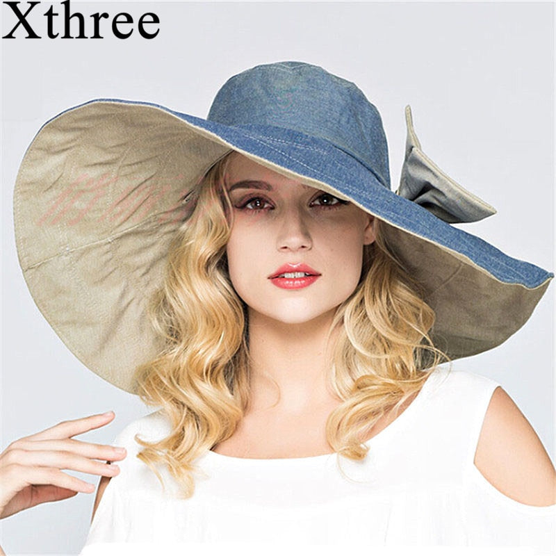 English Style Oversize Brim Beach Hat (Reversible)