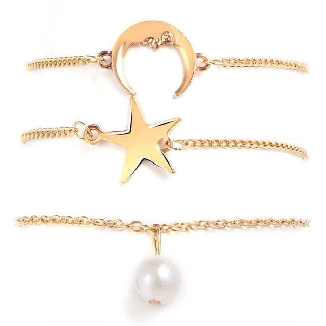 Multi-Layer Star Moon Pearl Anklet