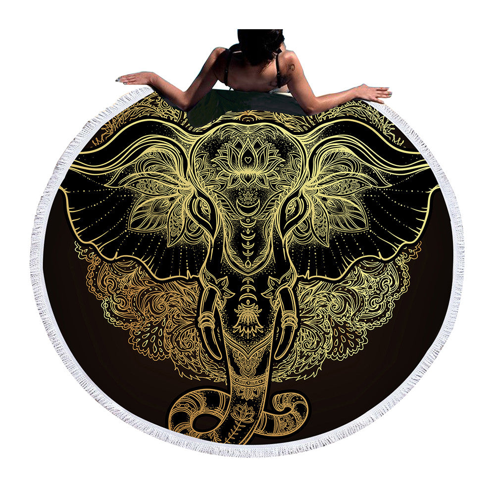 Elephant Round Beach & Yoga Towel
