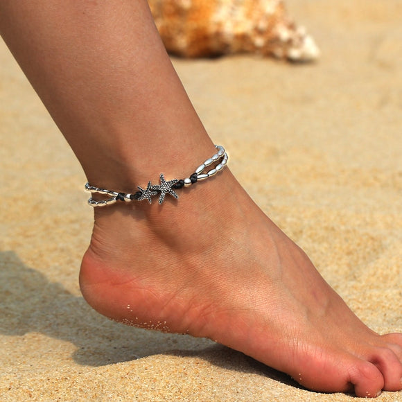 Two Beaded Band Starfish Anklet