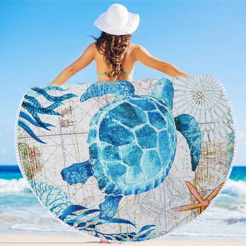 Sunbath Blue Turtle Beach & Yoga Towel