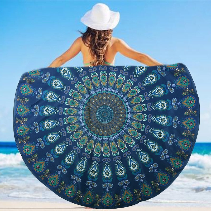 Blue Retro Beach & Yoga Towel