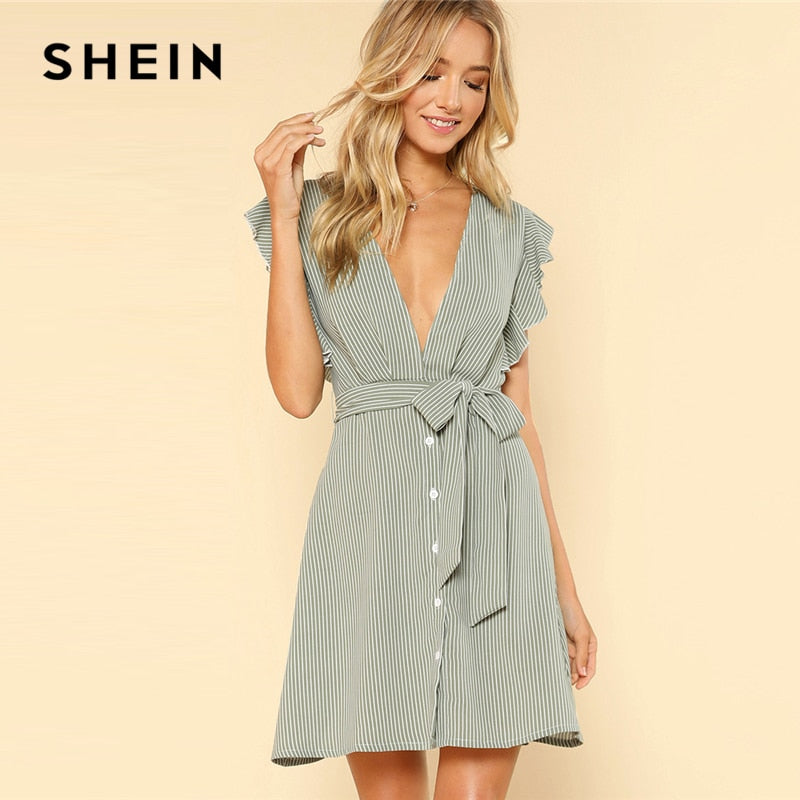 Button Front Belted Striped High Waist Summer Dress