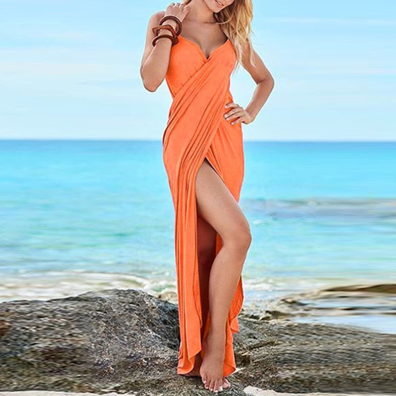 Summer Elegant V-Neck, High Slit Dress