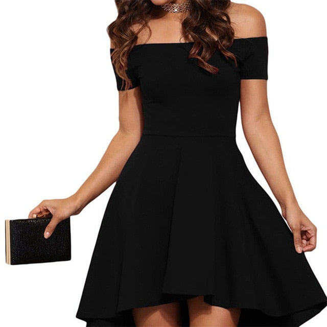 Elegant Off Shoulder Slash Neck Mini Dress